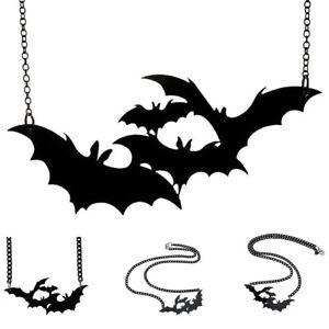 Punk-Halloween-Skull-Skeleton-amp-Large-Bat-Pendant-Necklace-Chain-Jewelry-Gift