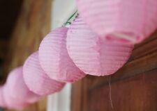 Light Pink Round Chinese Paper Lantern 110 - 220V Fairy Lights 20 Mini Lanterns