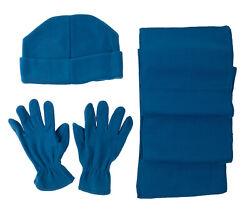 Fleece Winter Set blau Mütze Schal Handschuhe Neu