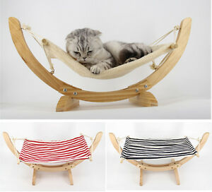 Cozy Hammock Cat Kitten Dog Lounge Hanging Bed Soft Mat & Solid Wood Pet Hammock