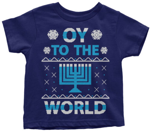 Oy To The World Hanukkah Toddler T-Shirt Jewish Holiday Gift