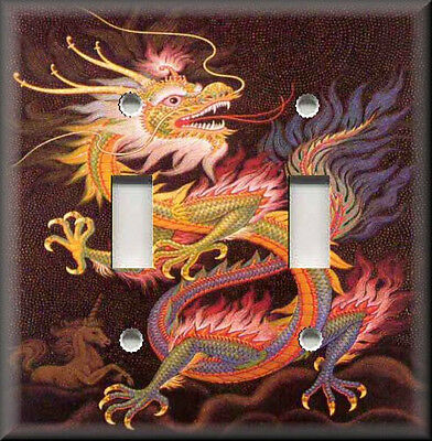 Metal Light Switch Plate Cover - Colorful Chinese Dragon Decor  Asian Home Decor