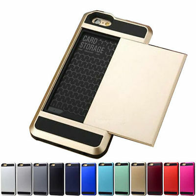 Hard Armor Case Cover With Slide Card Slot Holder For iPhone 5S 6 6S 7 7 Plus