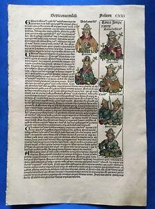 Altkoloriertes-Blatt-CXXI-Schedel-Weltchronik-1493-Nurnberg-HEILIGER-LAURENTIUS