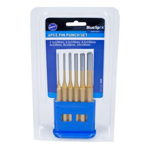 6 pièces Gold Pin Punch en plastique Stand-Set BlueSpot Outils Bs22449