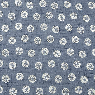 Navy Denim Blue and White Circles Oilcloth Wipeclean PVC Vinyl Tablecloth