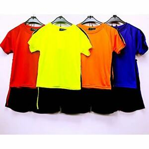 Garcons-Filles-T-shirts-Short-Sleeve-plaine-Ensemble-de-football-soccer-jerseys-Kids-3-13