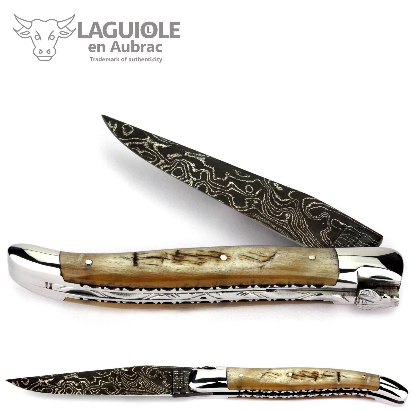 Laguiole en Aubrac Taschenmesser 12 cm Widderhorn Damast Messer Doppelplatine