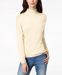 7422acdf406 Image is loading Charter-Club-Cashmere-Turtleneck-Sweater-Ivory-S-Pre-
