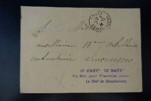 SûR Lettre Cover Griffe 12 D'artie 72°battie Vu Bon Pour Franchise Postale / Dagny ?