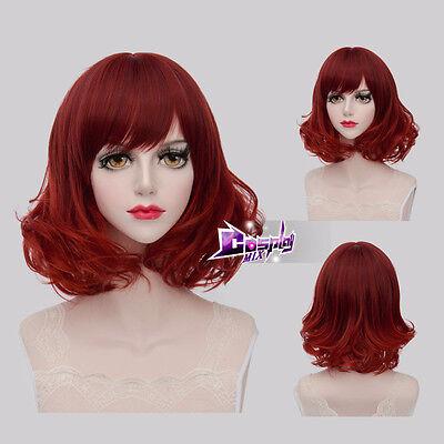 Fashion Mixed Red 40CM Medium Curly Lolita Cosplay Wig + Wig Cap