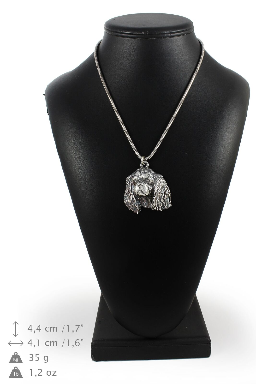 King Charles Spaniel - Silber coverot necklace with Silber chain, Art Dog