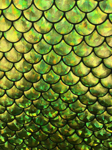 Sold By The Yard 4 way Stretch Mermaid Fish Scale Stretch Spandex lime green