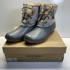 Sperry-Top-Sider-Womens-Saltwater-Wool-Emboss-Duck-Boots-Dark-Grey-Size-9-5M-US