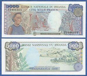 RWANDA Africa 5000 Francs UNC 1988 p-22