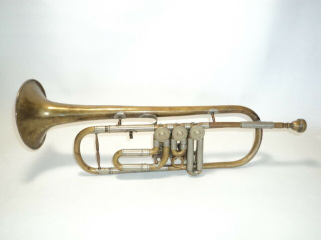 Antique Czech Rotary Lidl Brno Brass Trumpet with Vincent Bach mouthpiece