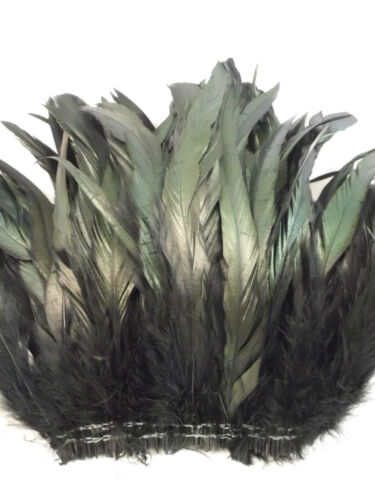 "BLACK IRIDESCENT COQUE ROOSTER TAILS CRAFT FEATHER 10/""-12/""L 50"