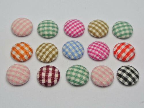 250 Mixed Color Flatback Grid Fabric Covered Butto n12mm Round Cabochon for DIY