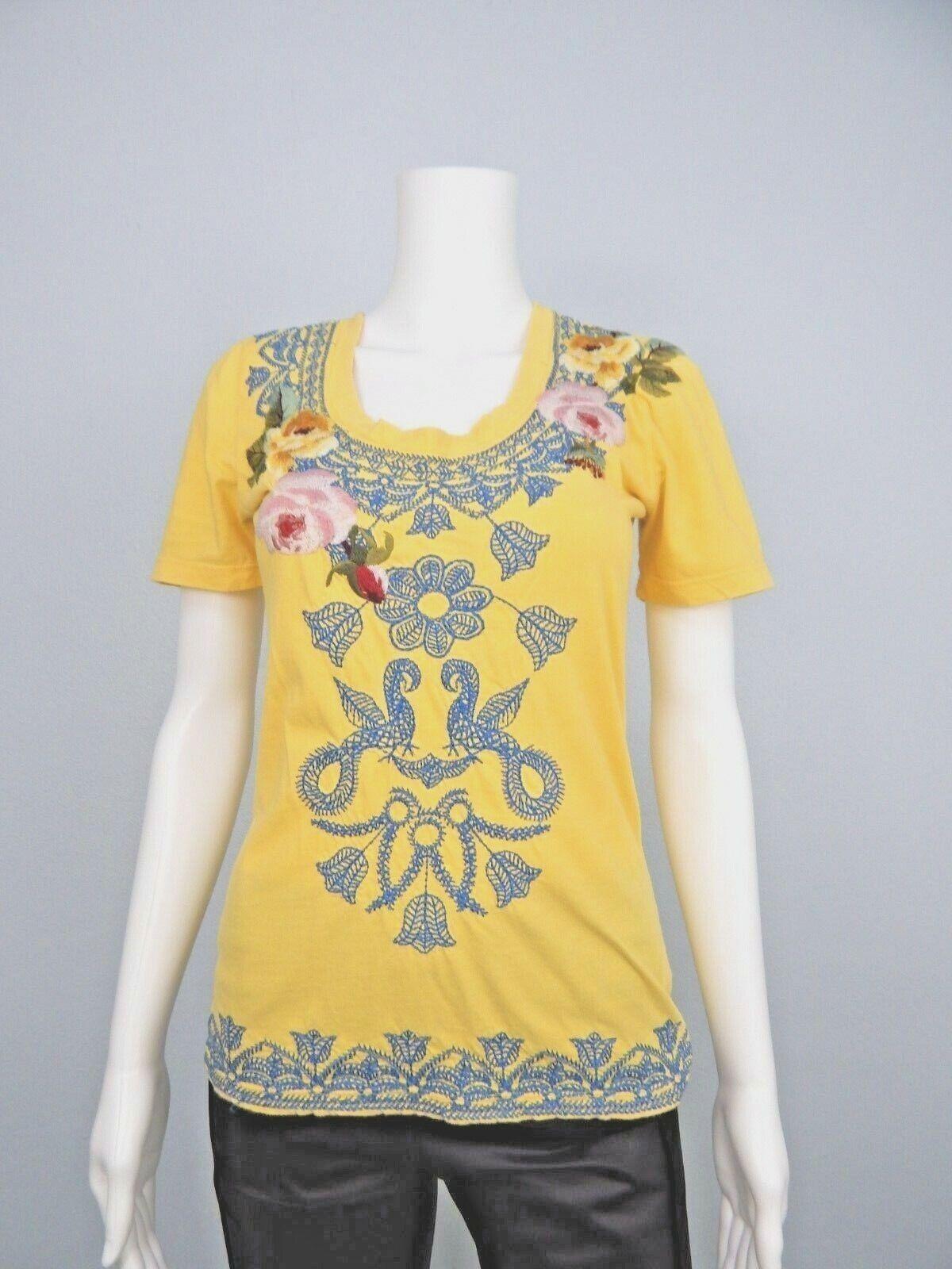 Jonny Was Los Angeles JWLA Deep Scoop Neck Gelb Floral Embroidery Top Sz XS