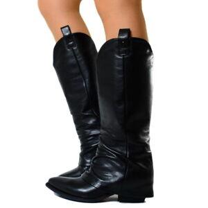 vivido e di grande stile acquisto autentico outlet Dettagli su Stivali Donna Alti Camperos Biker Boots Pelle Ghetta Neri MADE  IN ITALY B42 -
