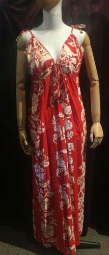 Vintage 1960s Red & White Floral Print Maxi Sundre