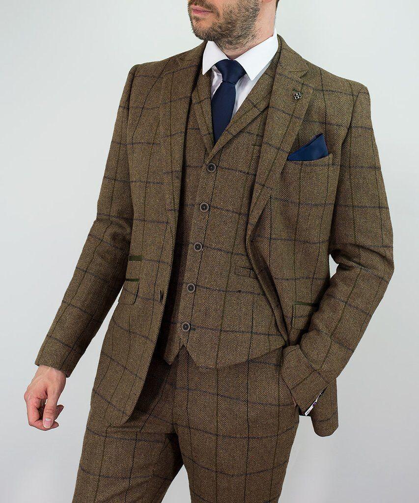 Cavani Sergio Tweed Marrone Completo 3 Pezzi - Tradizionale British Heritage