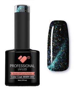 XKMY-005-VB-Line-Starry-Cat-Eye-Black-Green-Glitter-gel-nail-polish-gel-polish