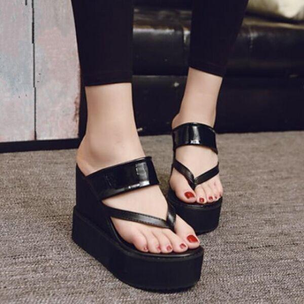 Sandalias zapatillas mujer cuña plataformas 12 cm negro inserciones cómodo CW525