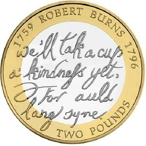 2009 2 Birth Of Robert Burns 1759 1795 Two Pound Coin