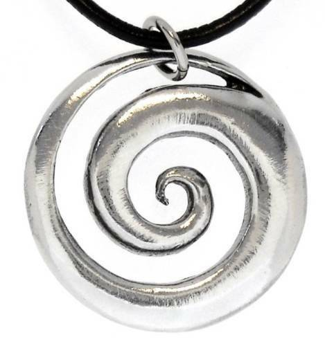 48E Silver PEWTER Celtic SPRIAL Swirl PENDANT Necklace