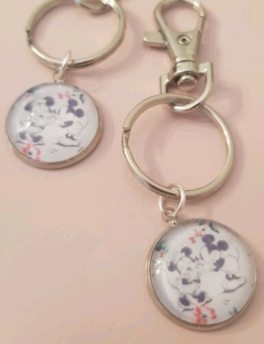 Mickey and Minnie Mouse Cath Kidston Cute Vintage Keyring Bag Charm Gift Tag