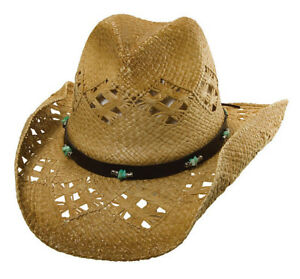 37b4ee324767d DORFMAN PACIFIC    LADIES RAFFIA STRAW COWBOY HAT   NEW SHAPEABLE ...