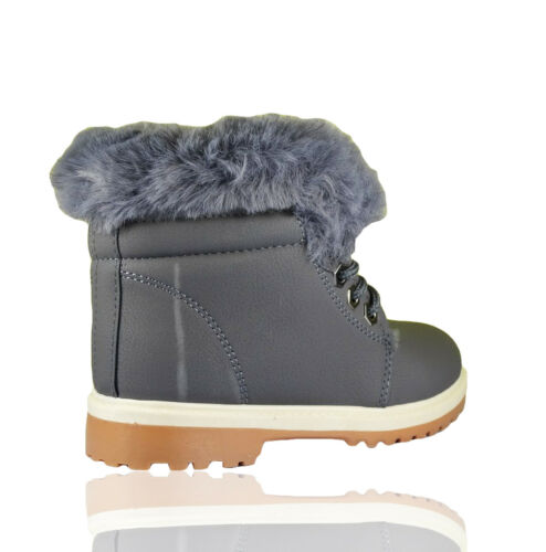 KIDS GIRLS BOYS FAUX FUR WINTER WARM LACE UP ANKLE BOOTS TRAINERS SHOES SIZE NEW