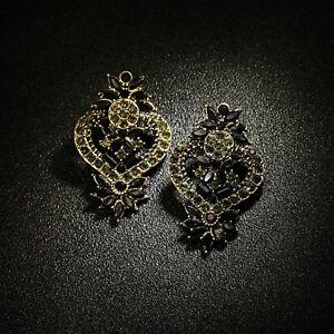 Orecchini Dorato Grandi Pulci Floreale Mini Perle Grigio Nero Barocco XX29