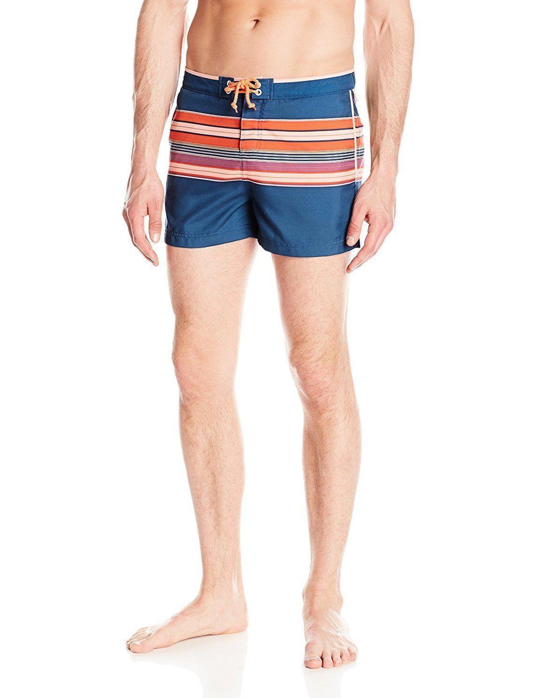 Original Penguin Men's Engineered Horizontal Stripe Volley Swim Trunks Shorts 38