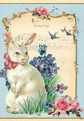 Fabric Block Vintage Easter Postcard Easter Bunny Hop Music Pink Roses Flowers
