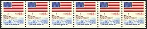 1891-18c-Flag-amp-Shore-RARE-Plate-6-VF-NH-Strip-of-6