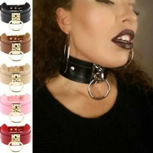 Women-Fashion-Punk-Gothic-Wide-PU-Leather-O-Ring-Collar-Choker-Necklace-Gift