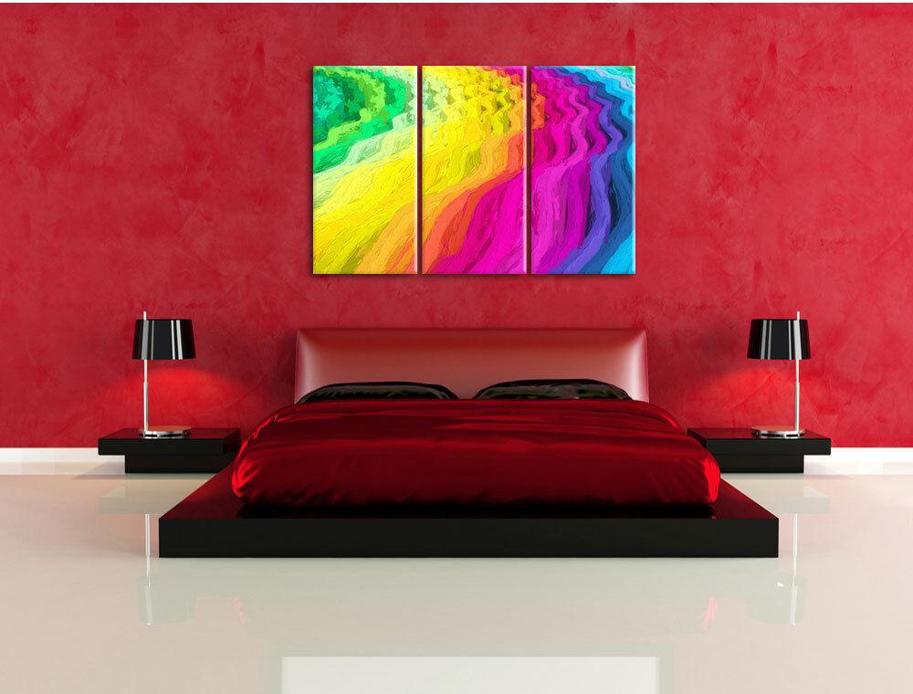 Colores Patrón con Ondas Pincel Foto Efecto 3-Teiler Foto Pincel en Lienzo Decoración de a61dad