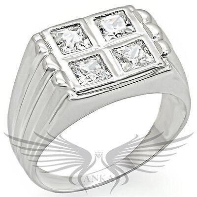Men's Rhodium Plated AAA Grade Cubic Zircon CZ Ring 8 9 10 11 12 13 14 34519