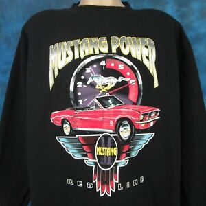 vintage-90s-FORD-MUSTANG-REDLINE-CREWNECK-SWEATSHIRT-T-Shirt-XL-muscle-car-tee