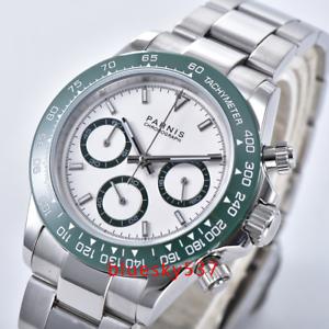39mm-PARNIS-White-dial-Full-Chronograph-Saphirglas-leuchtend-Uhr-mens-watch