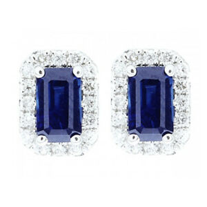 Details About 3 00 Ct Blue Shire Diamonds Studs 14k White Gold Gemstone Earrings
