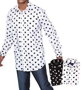 Men-039-s-100-Cotton-Polka-Dot-Design-Dress-Shirt-Black-White-White-Navy-Size-15-20
