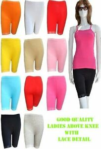 LADIES-STRETCHY-COTTON-LYCRA-ABOVE-KNEE-CYCLING-SHORT-CASUAL-LEGGING-WITH-LACED