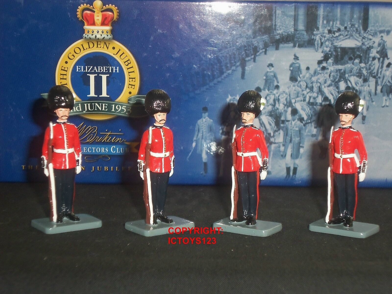 BRITAINS 40342 COLLECTORS CLUB goldEN JUBILEE WELSH GUARDS TOY SOLDIER SET