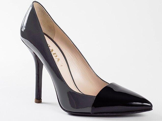 Nuevo Prada Negro Negro Negro y gris Charol Zapatos Talla 36.5 EE. UU. 6.5  autorización oficial