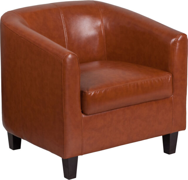 Cognac Leathersoft Barrel Shaped Office Guest Reception Chair - Lounge Chair