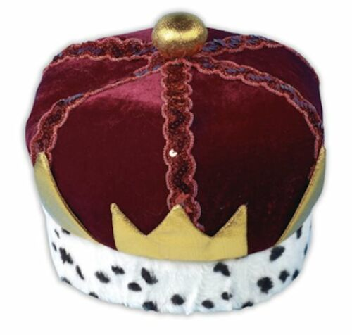 VELVET KINGS CROWN FANCY DRESS COSTUME ACCESSORY CROWN JEWELS ROYALTY ADULT SIZE