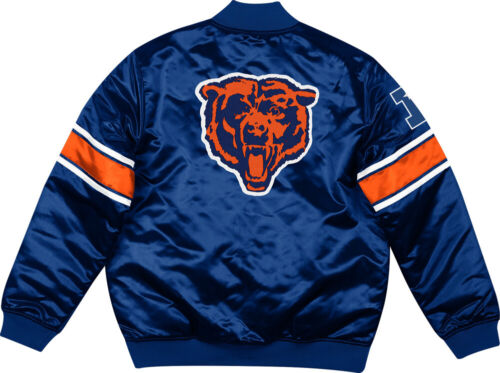 Mitchell /& Ness Chicago Bears Classic Logo Heavyweight Satin Jacket Navy